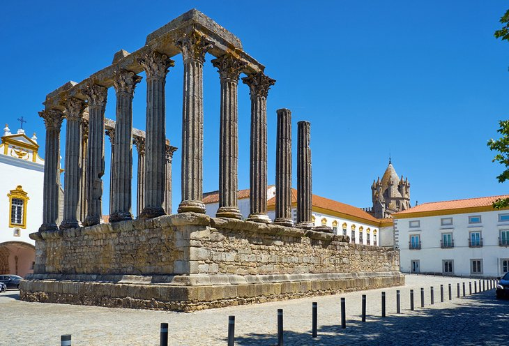 Roman Temple with the Evora Cathedral in the distance