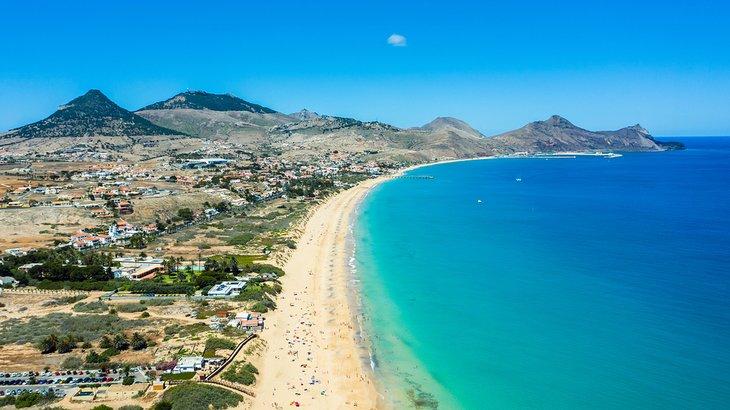 Vista aérea de la playa de Porto Santo