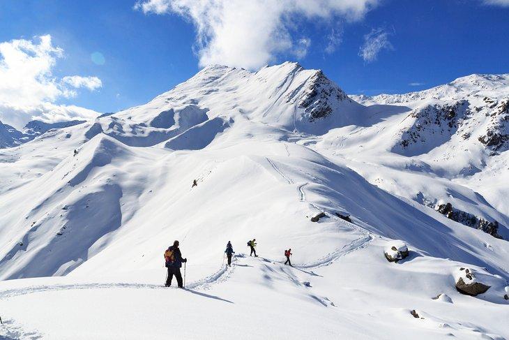 Snowshoers in the Stubai Alps, Austria