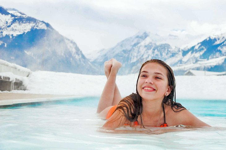 Relaxing in a thermal pool in the Austrian Alps