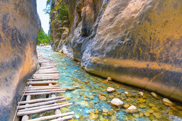 Wooden path through the Samaria Gorge