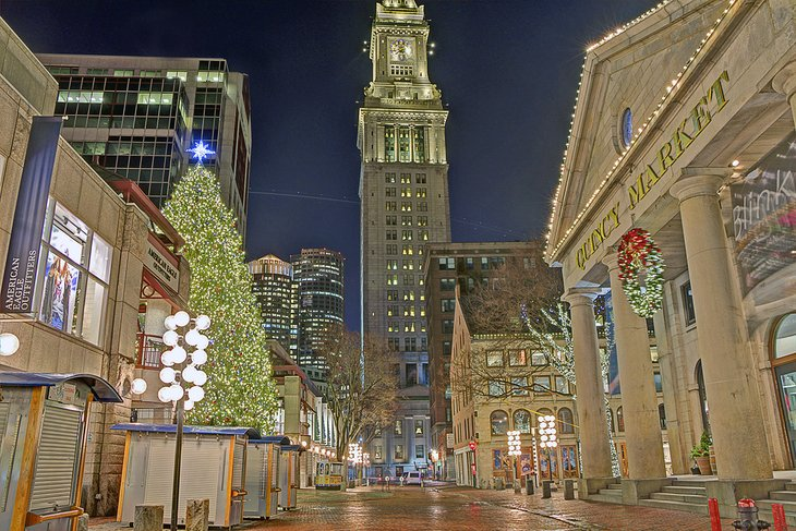Holiday decorations at Quincy Market in Boston