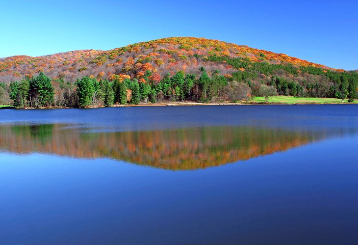 A mirror-like lake in Allegany State Park