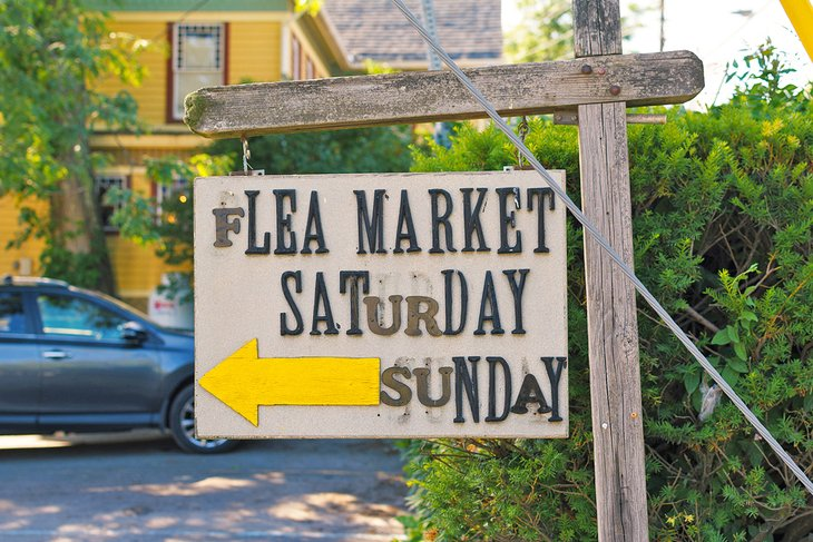Flea market sign in Woodstock