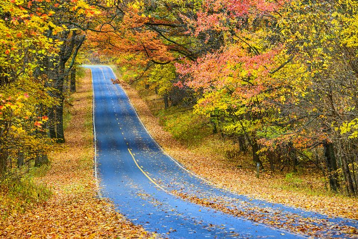 Road through the autumn foliage of Shenandoah National Park