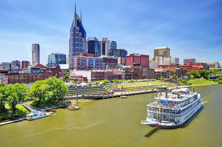 The General Jackson Showboat cruising past Downtown Nashville