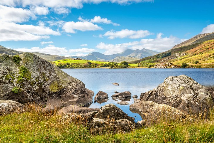 View of Snowdon peak from lake Llynnau Mymbyr in Snowdonia National Park