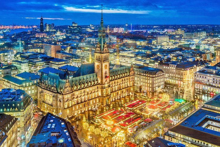 Aerial view of Hamburg and the Christmas market