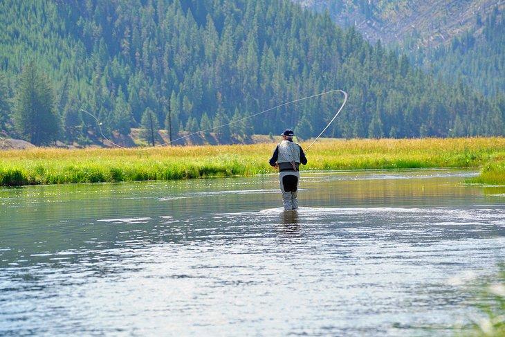 Un pescador en el río Madison