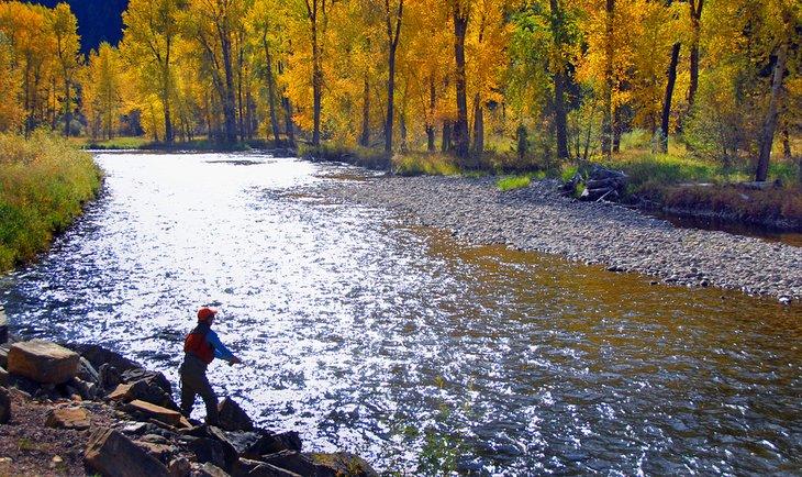 Pescador con mosca retroiluminado en Rock Creek