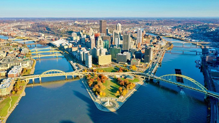 Aerial view of Downtown Pittsburgh