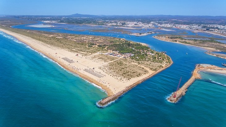 Vista aérea de la isla de Tavira