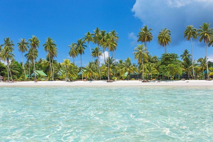 Пляж с пальмовыми ветвями на Кох-Куде.