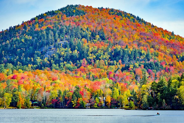 Fall colors at Mirror Lake, Lake Placid