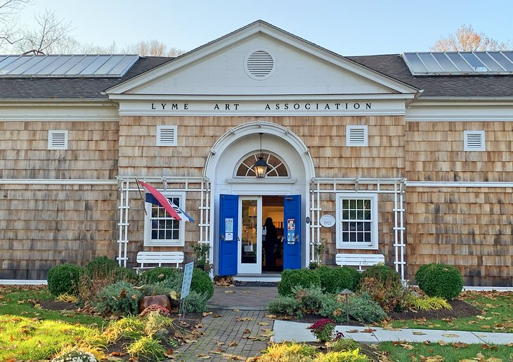 A classic arched entrance welcomes visitors to the Lyme Art Association