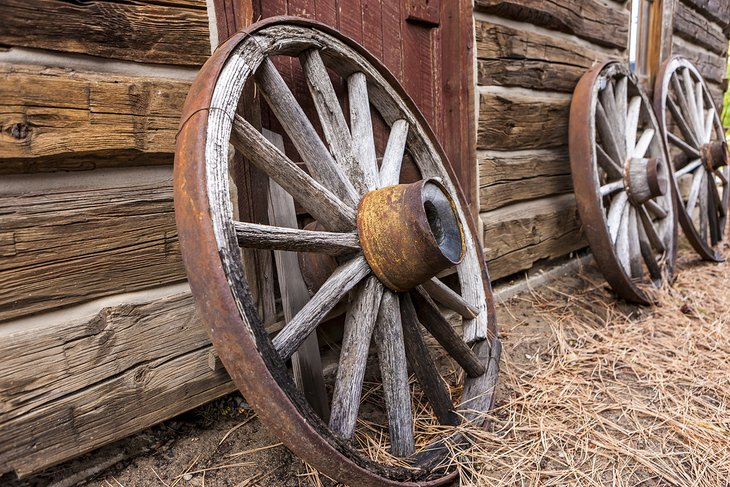 Antique wagon wheels at the Shafer Historical Museum