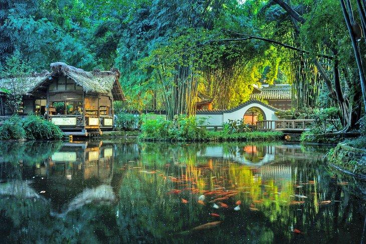 Casa de campo con techo de paja Du Fu