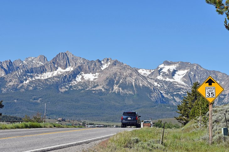 Approaching Stanley from the Salmon River Scenic Byway