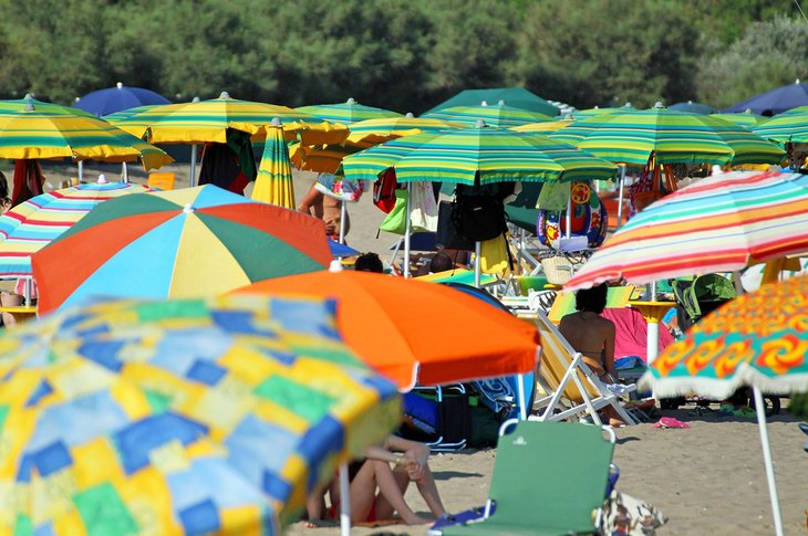 Busy day at the beach in Civitavecchia