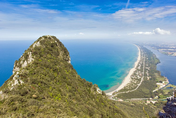 View of the beach and Sabaudia Lagoon from Mount Circeo