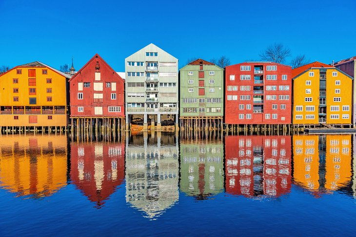 Colorful buildings on the River Nidelv in Trondheim