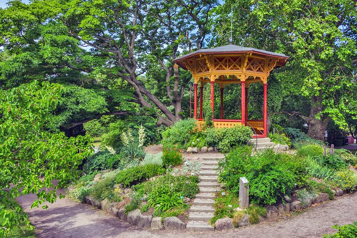 Wood gazebo in the DBW's Botanical Garden