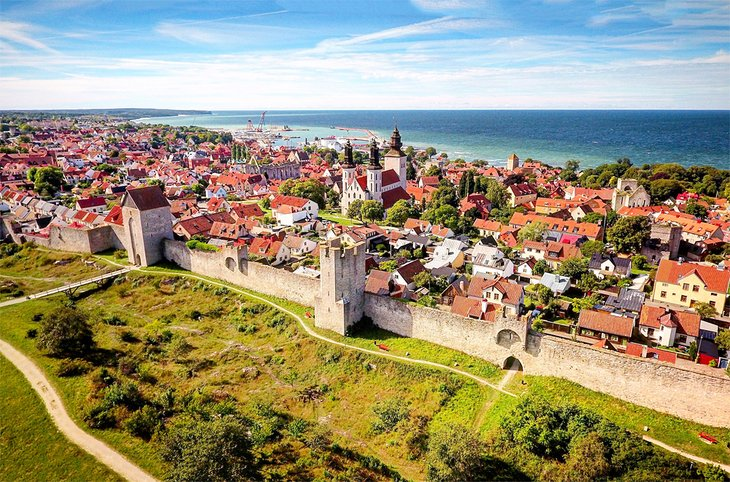View over historic Visby