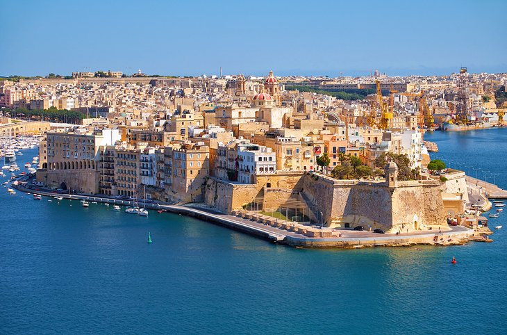 Aerial view of Senglea and Fort Saint-Michael on the Grand Harbor