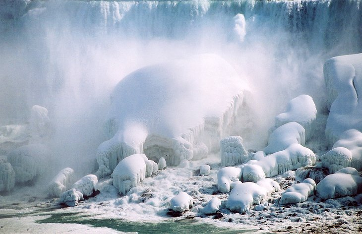 View of American Falls in winter from the Canadian side