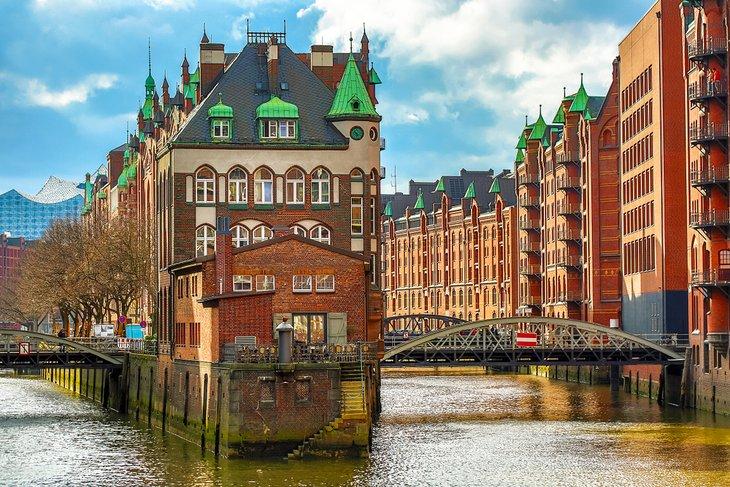 El distrito de almacenes en Hamburgo, Alemania.