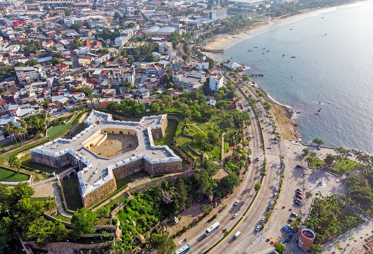 Aerial view of the Fort of San Diego in Acapulco