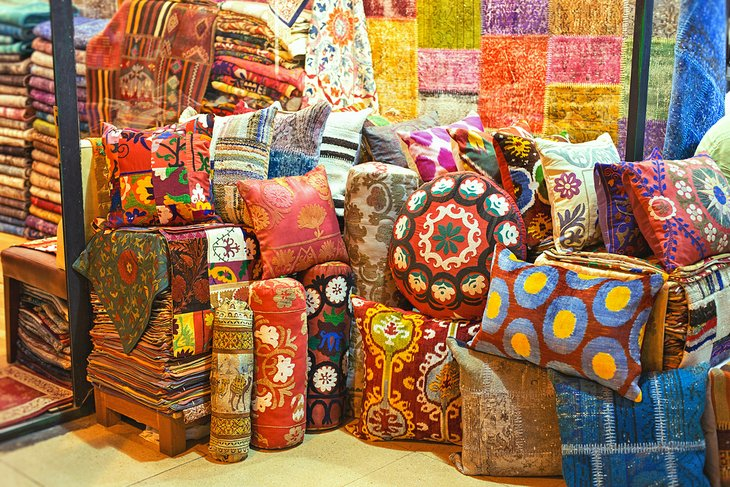 Colorful pillows on display in the Grand Bazaar