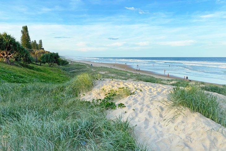 Dunas de arena que bordean Coolum Beach Holiday Park