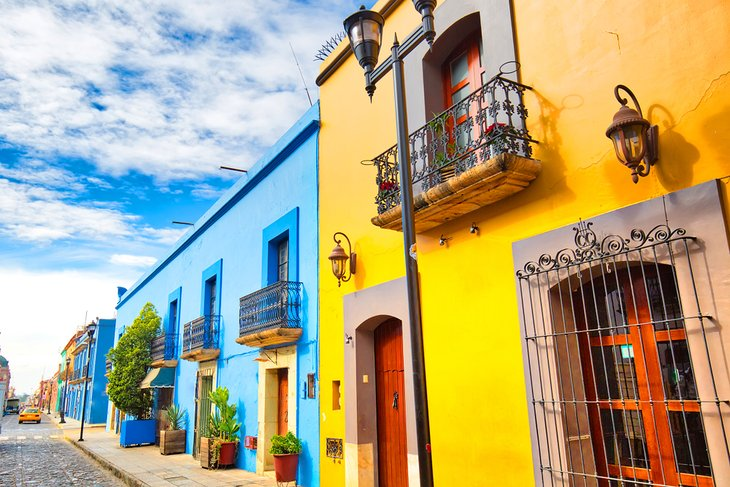 Colorful buildings in Oaxaca's city center
