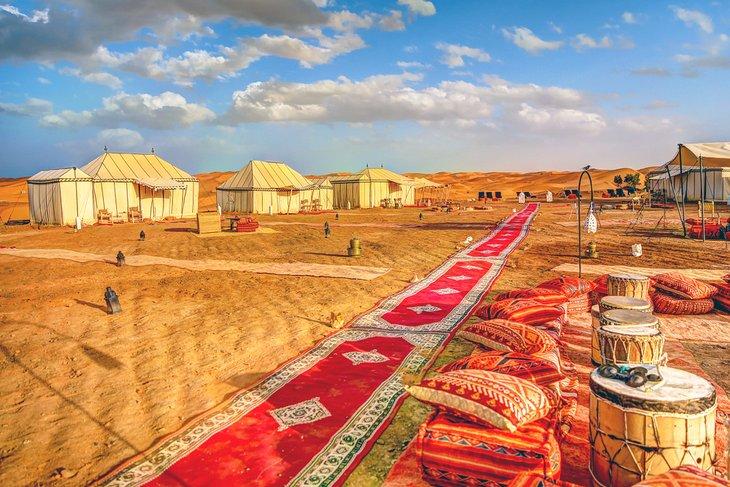 Campamento de lujo en el desierto en Erg Chebbi