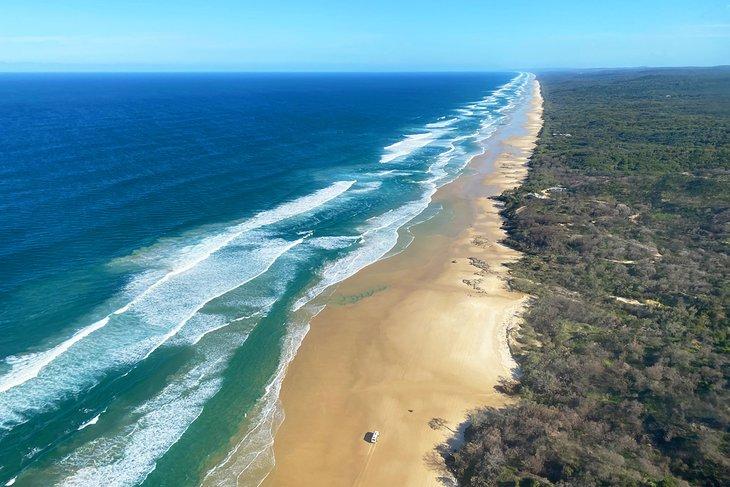 Aerial view of K'Gari (Fraser Island)